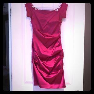 Hot pink off the shoulder satin dress SIZE 4